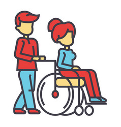 Young man strolling with young woman in wheelchair vector