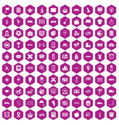 100 bus icons hexagon violet vector