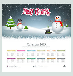 Calendar 2013 merry christmas and snowman vector