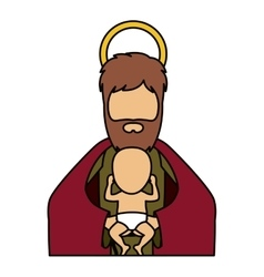 Joseph and baby jesus of holy night design vector