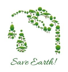 Save Earth symbol of trees in gasoline drop shape vector image