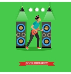 Rock guitarist playing electric guitar on stage vector