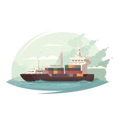 Container ship in sea vector