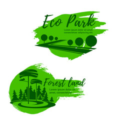 Eco park and green forest landscape icon set vector