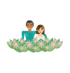 Drawing happy couple with decorative flowers vector