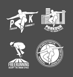 Set of parkour and free running badges vector