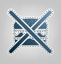 no burger sign  blue icon with outline for vector image