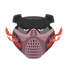 Angry bear in protective mask aggressive grizzly vector