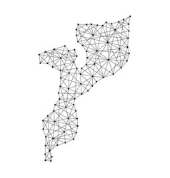 Map of mozambique from polygonal black lines vector