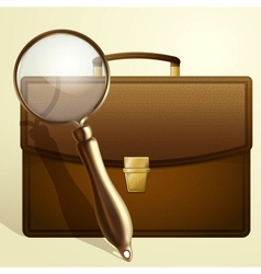 Magnifying glass and portfolio vector