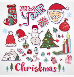 Christmas doodle collection new year colorful vector