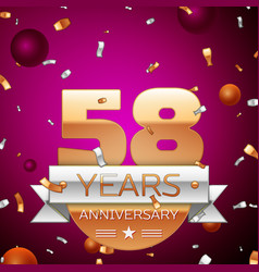 Fifty eight years anniversary celebration design vector