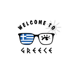 Welcome to greece icon paradise on sunglasses vector
