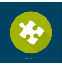 Icon puzzle piece with a long shadow vector
