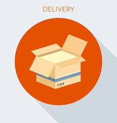 Delivery concept open cardboard box in flat vector