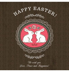 Brown greetings card for easter day with rabbits vector