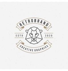 Vintage lion face line art logotype emblem symbol vector