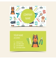 Business cards for animal grooming promotional vector
