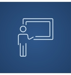 Professor pointing at blackboard line icon vector