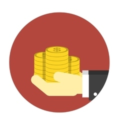 Coins on hands icon vector