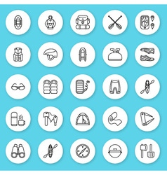 Set of line icon rafting kayaking equipment vector