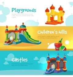 Inflatable castles and childrens hills on vector