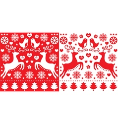 Christmas red greetings card pattern with reindeer vector