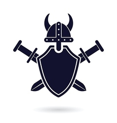 Viking shield sword vector