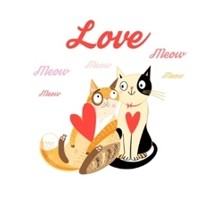 Lovers funny cats vector