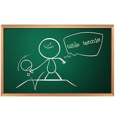 A blackboard with a drawing of a boy playing table vector image vector image