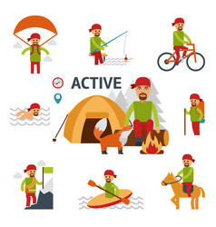 active infographic elements man relaxing by fire vector image vector image