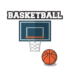 Ball and basket of basketball sport design vector