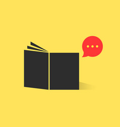 black book with red speech bubble vector image vector image