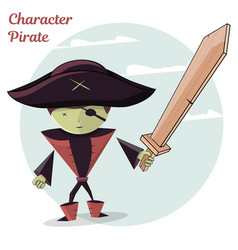 Cartoon kids character pirate vector