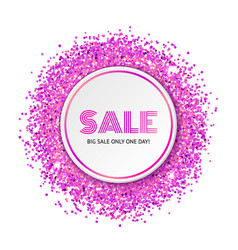 circle with pink glitter particles vector image