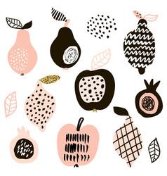 creative fruits set lemon apple pear passion vector image
