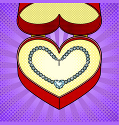 diamond necklace heart in gift box pop art vector image vector image