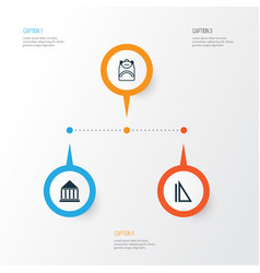 Education icons set collection of haversack vector