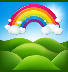 Fantastic landscape with rainbow vector
