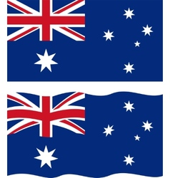Flat and waving Australian Flag vector image vector image