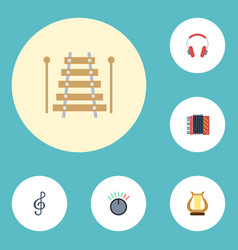Flat icons quaver lyre musical instrument and vector