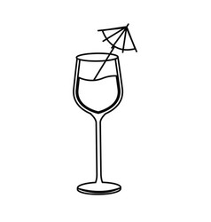 Glass cup cocktail umbrella drink line image vector