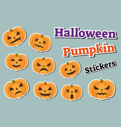 halloween pumpkin set of stickers emoji patches vector image
