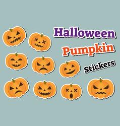 Halloween pumpkin set of stickers emoji patches vector