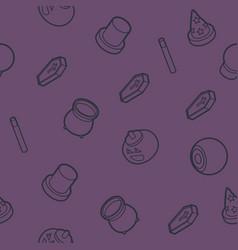 happy halloween outline isometric pattern vector image vector image
