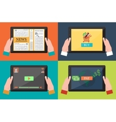 Human Hands Holding a Black Tablet with Apps vector image