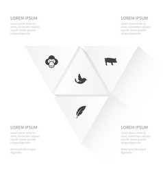 Icon animal set of capuchin swallow swine and vector