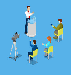 isometric mass media with reporters vector image