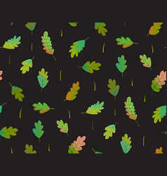 Leaves seamless pattern on black background vector