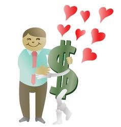 Money in love vector